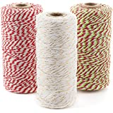Christmas Bakers Twine 3 roll set (330 yds): Red/White, White/Gold, Red/White/Green (BrightandBold)