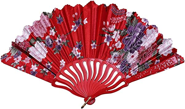 Chinese Classic Style Dance Wedding Party Lace Silk Folding Hand Held Flower Fan