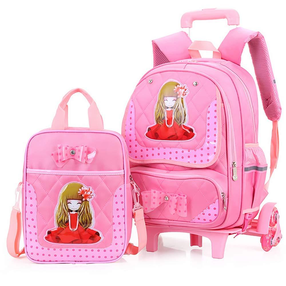QCC& Schön Mädchen Trolley Schulrucksack - Wasserdicht Entfernbar Sicherheit Reflektierend Rollschultasche 2 Stück Mit Handtasche Mittagessen Taschen Rosa