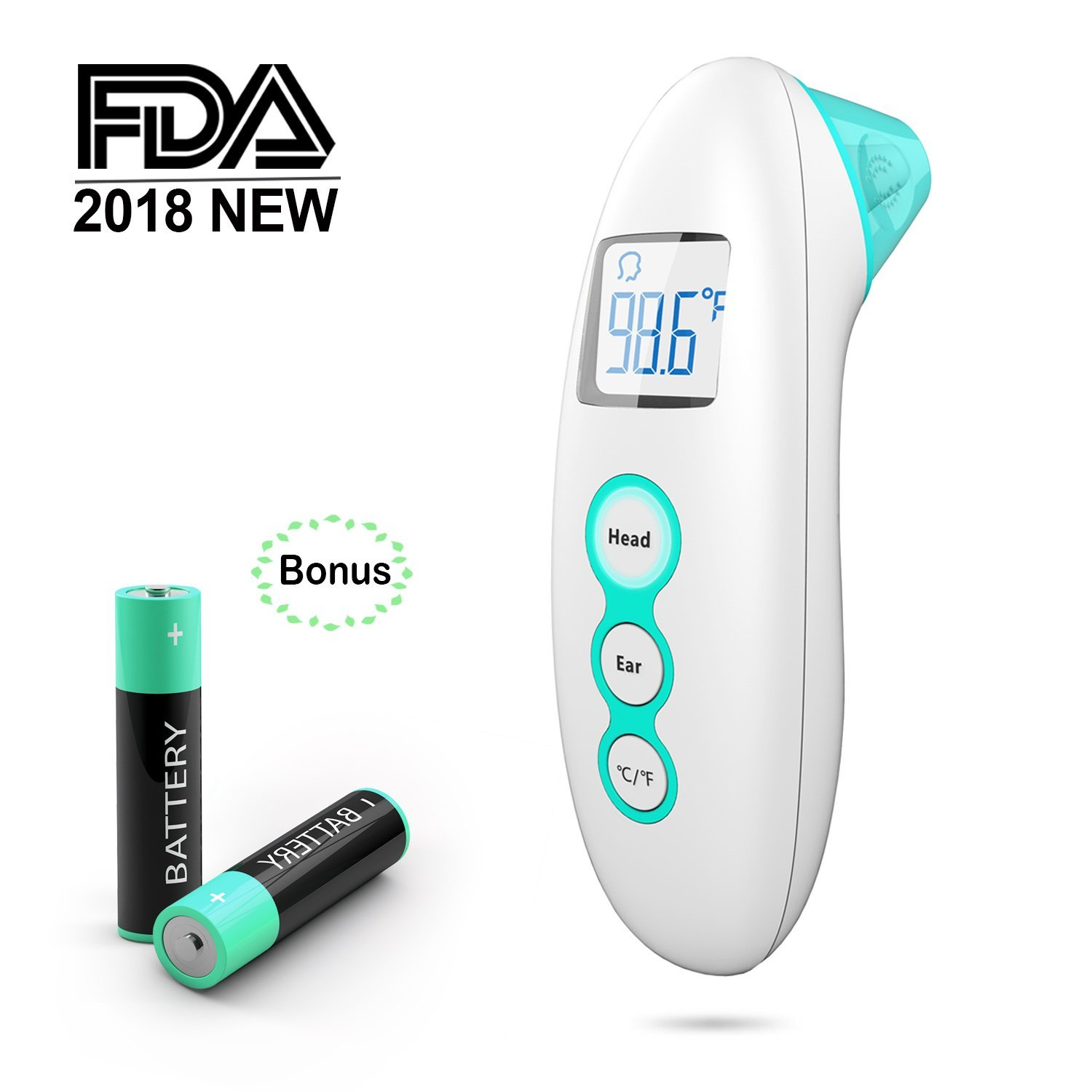 Thermometer for Fever,Medical Digital Forehead and Ear Thermometer for Baby, Kids and Adults,Upgraded Lens Technology for Better Accuracy, Fever Alarm and Color Indicator, FDA Cleared 2018 New (Green)