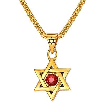 U7 Bijoux Magen Juif étoile de David Pendentif Collier Femme Homme Chaîne  Noir Pistolet en acier d1b18c692e6b