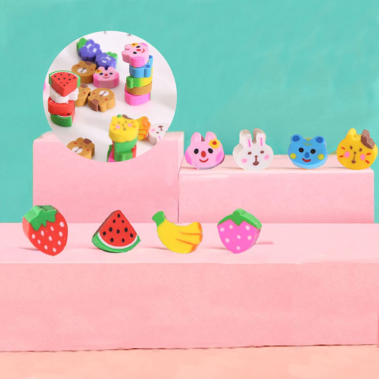 Random Pattern Banana Strawberry Watermelon Rabbit for Party Favors Fruit Animal Eraser Novelty Mini Erasers L//V 240Pcs Mini Erasers for Kids 3D Animal Erasers Classroom and Homework Rewards