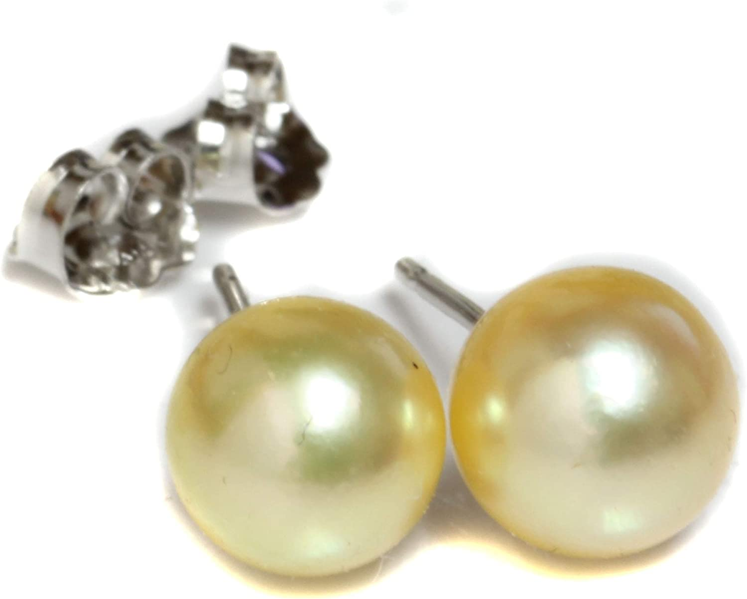 Solid 14k Yellow Gold 8-9mm Round Black Saltwater Simulated Pearl Stud Earrings
