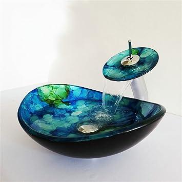 HomeLava Lavabo Vasque en Verre Trempé Bleu, avec Robinet Cascade à ...