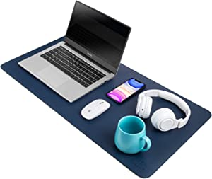 """Dark Blue/Yellow Dual Sided PU Leather Desk Pad, Upgrade Sewing Office Laptop Mat, Waterproof Large Mouse Pad, Non-Slip Writing Mat Desk Blotter Protector for Office/Home, 31.5""""x15.7"""""""