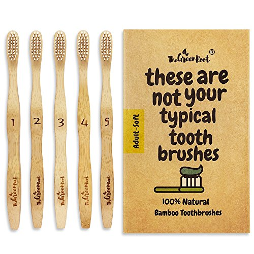 Natural Bamboo Toothbrush For Adults W/BPA Free Nylon Bristles, Individually Numbered Pack of 5, Organic & Compostable toothbrushes, Plastic Free Packaging
