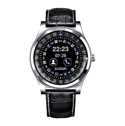 Amazon.com: Smart Watch R68 Leather Wrist Men Bluetooth ...