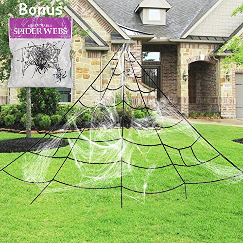 Pawliss Giant Spider Web With Super Stretch Cobweb Set  Halloween Decor Decorations Outdoor Yard  Black  16 Feet
