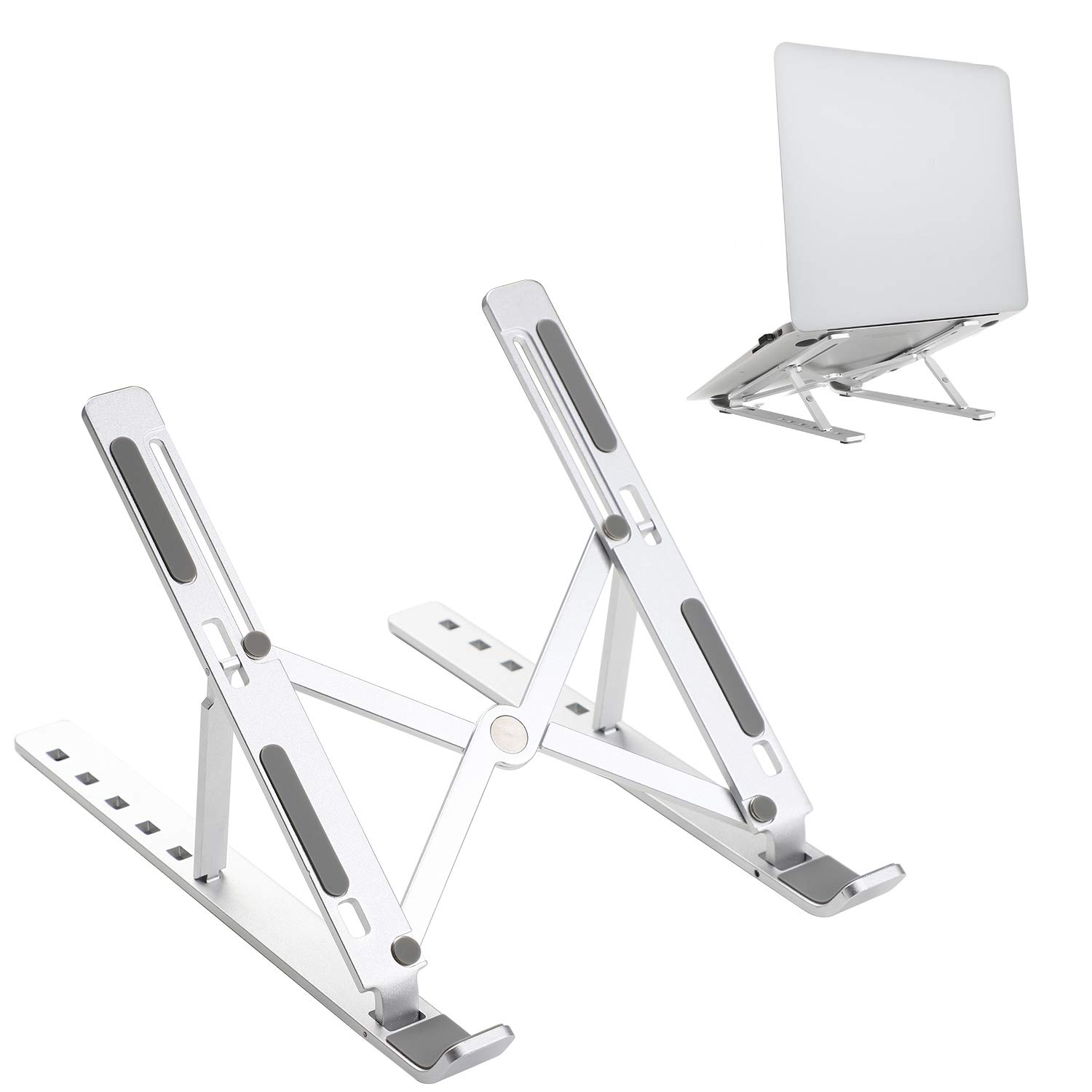 JARLINK Adjustable Laptop Tablet Stand, Foldable Aluminum Desktop Laptop Riser Compatible with All Laptops iPad Tablet (up to 15.6 inches), Silver by JARLINK