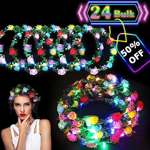 (24 Pack LED Flower Crown Colorful Headdress LED Light Up Flower Wreath Headband Glow in The Dark Party Favors Flashing Garland for Girls Kids Women Dress Up Accessories for Birthday Wedding Parties)
