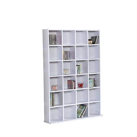 HOMCOM 480 CD/312 DVD Storage Shelf Rack Media Storage Unit Shelves Racks  Wooden Bookcase