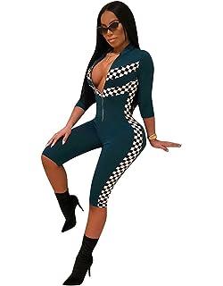83668d4d541db6 Carolilly Mode Damen V-Ausschnitt Jumpsuit Kurzarm Overall Sommer Einteiler  Clubwear(S-2XL