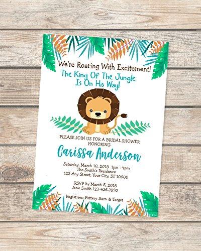 Lion Baby Shower Invitation, King Of The Jungle Baby Shower Invitations For Baby Boy, Safari Jungle Lion Invitation - Digital or -