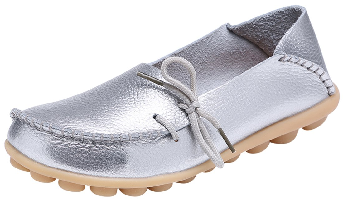 Serene Womens Silver Leather Cowhide Casual Lace Up Flat Driving Shoes Boat Slip-on Loafers - Size 7