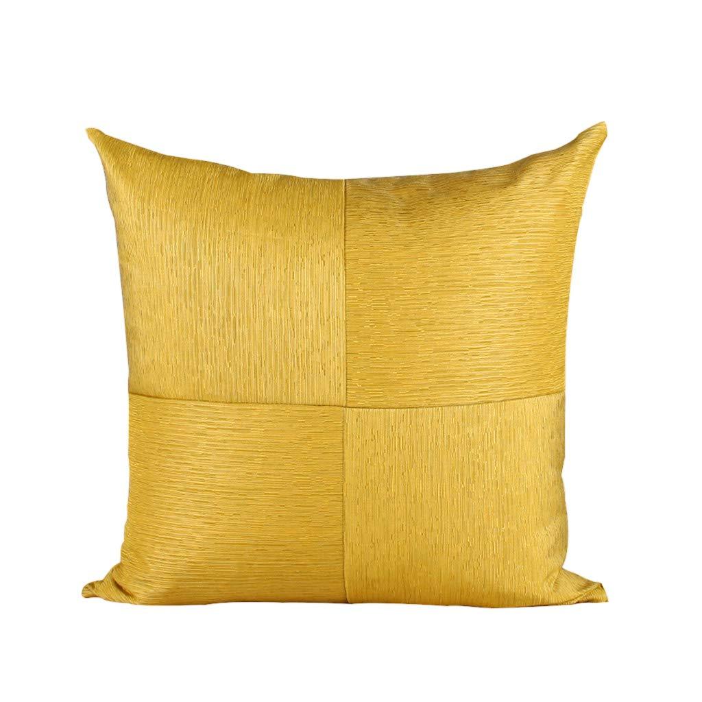 DUHUI Nordischen Stil Kissen Wohnzimmer Sofa gebürstet einfarbig Kissen einfache Moderne mosaik Kissen, 50x50 cm (Farbe : Gelb)
