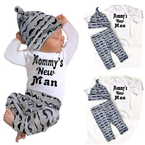 Moonface 3 Pcs Set Toddler Kid Baby Boy Outfits Clothes Printed