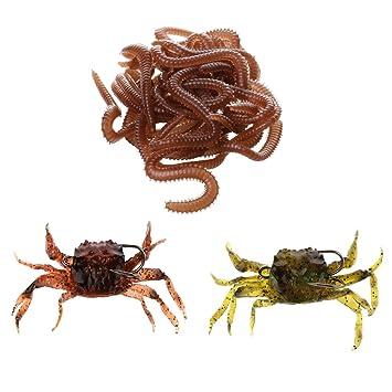 Lixada Lot de 4 leurres Crabes P/êche App/âts artificiel avec hame/çons
