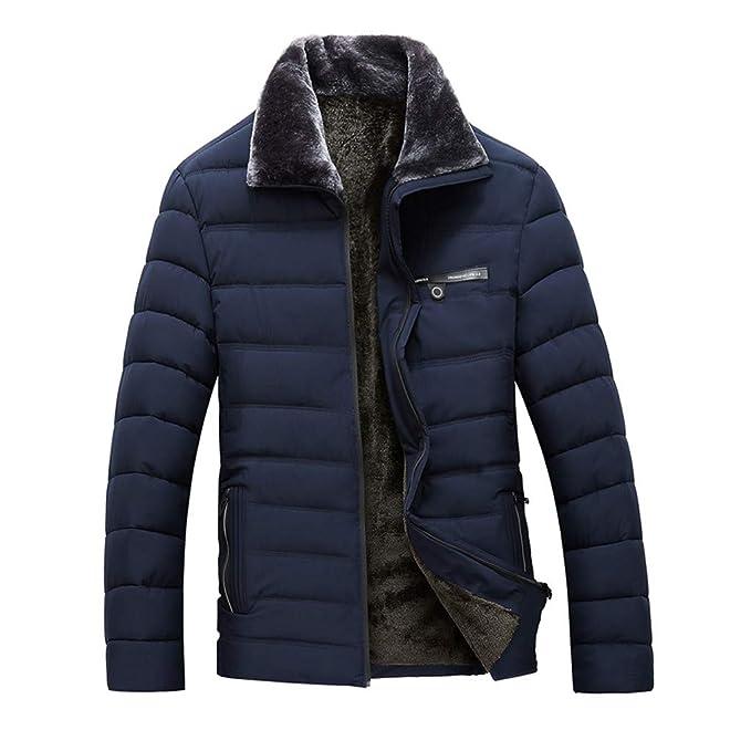 Chaqueta Hombres Boys Casual Warm Stand Collar Slim Invierno Zip Coat Outwear Abrigo de Invierno de los Hombres de Solapa con Cremallera Engrosamiento ...