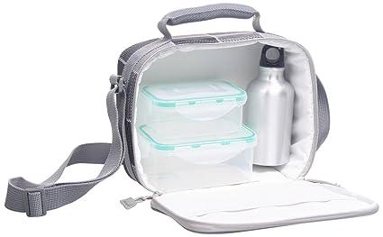ECO-DE Bolsa isotérmica Porta Alimentos Modelo Quattro con 2 tuppers (350 y 600 ml) y Termo Aluminio (300ml)