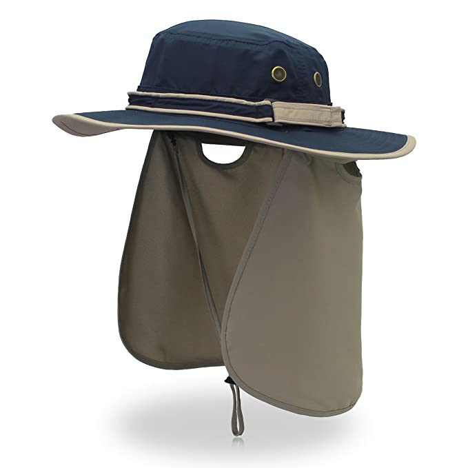 0c3e1c8441a Sun Hat Summer of Men Outdoor UV Protection Beach Hat Wide Brim Bucket Hat  Foldable Safari Boonie Hat Fishing Hat with Adjustable  Amazon.co.uk   Clothing