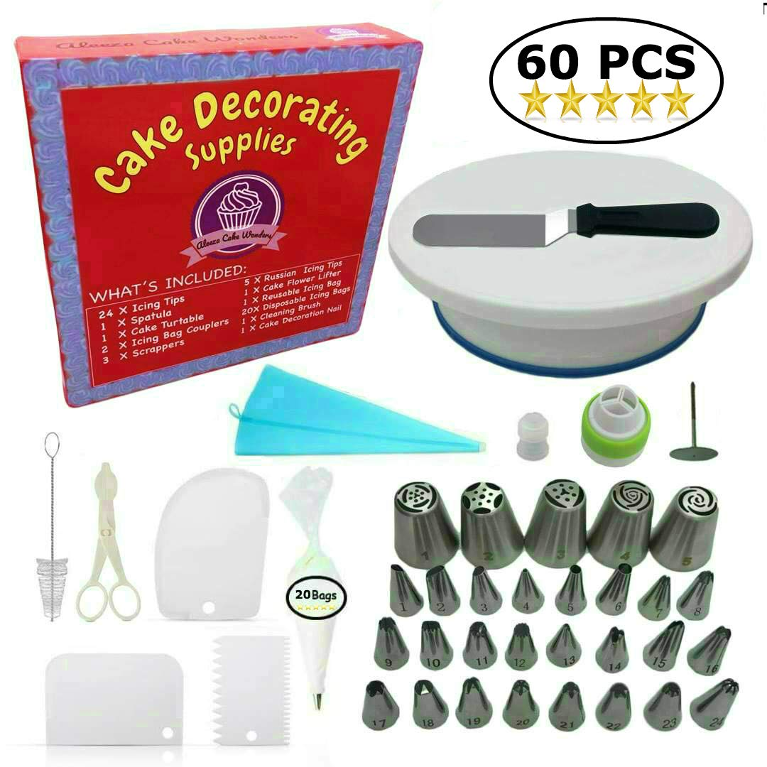 Cake Decorating Supplies - (SPECIAL CAKE DECORATING KIT WITH ICING CHART) and LARGE Numbered Tips, Cake Rotating Turntable, 24 icing tips and more! Create BEAUTIFUL Cakes With This Complete Cake Set! by Aleeza Cake Wonders