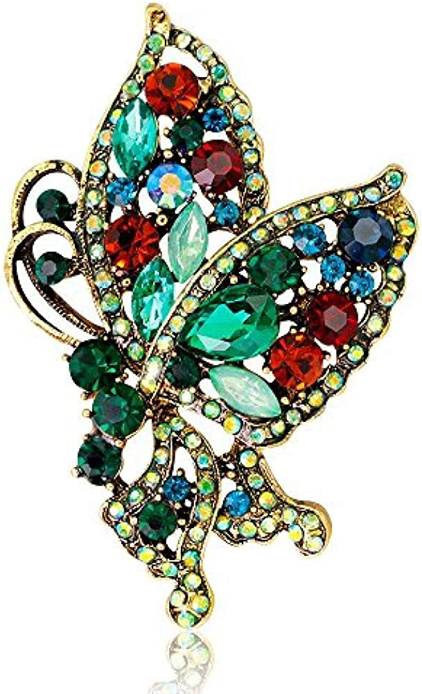 Butterfly Brooch Alloy Rhinestone Anti-Lighting Silk Scarf Buckle Coat Western Ornament Badge Gift