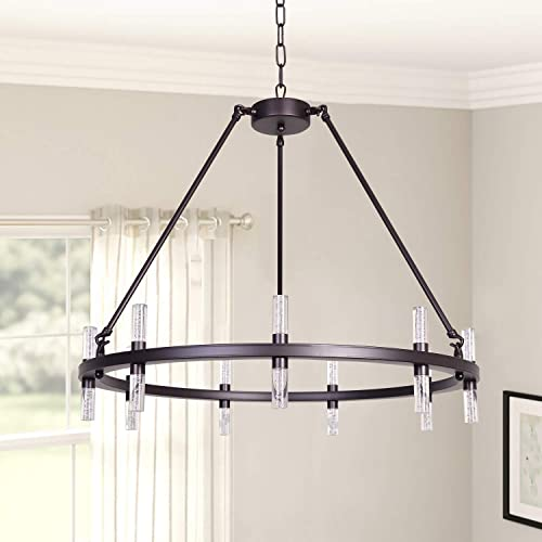 MEEROSEE Modern Chandelier Lighting LED Pendant Lighting Fixture Acrylic Shade 18 Lights Farmhouse Chandeliers Oil Rubbed Bronze Round Dining Room Contemporary Chandelier for Island Kitchen D29.5