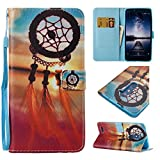 ZTE ZMAX Pro Case, ZTE Blade X Max Case, XIEKE Premium Flip Cover PU Leather Painted Pattern Wallet Cash Card Holder Kickstand Case with Wrist Strap for ZTE ZMAX Pro/Carry Z981 (Dream Catcher)