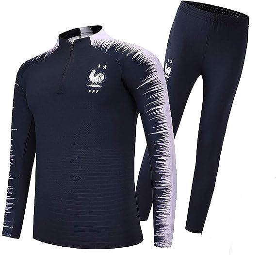 SWEATSHIRT Ropa de Deporte FFF, Francesa de Fútbol 2018 Camisa de Jersey del Equipo de fútbol Traje de fútbol Copa Mundial de Francia 2 Estrellas Masculino para niños,2XL: Amazon.es: Deportes y aire