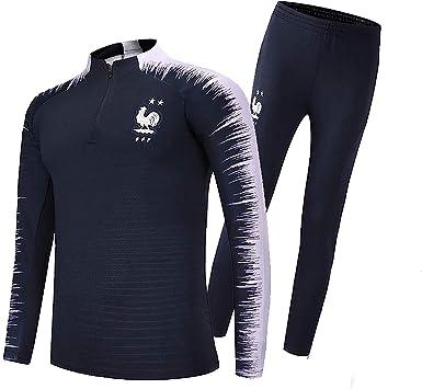 SWEATSHIRT Ropa de Deporte FFF, Francesa de Fútbol 2018 Camisa de Jersey del Equipo de fútbol Traje de fútbol Copa Mundial de Francia 2 Estrellas Masculino para niños: Amazon.es: Deportes y aire
