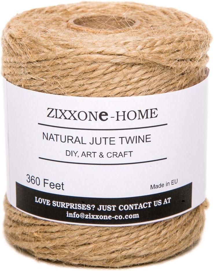 ZIXXONE-HOME 2 Capas, 2 mm de Grosor, Natural, Ideal para Manualidades y decoraci/ón de jardiner/ía Cuerda de Yute de 110 m