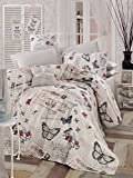 LaModaHome Luxury Soft Colored Full and Double Bedroom Bedding 100% Cotton Coverlet (Pique) Thin Coverlet Summer/Letter Butterfly Wing Bird Animal Motif Design /