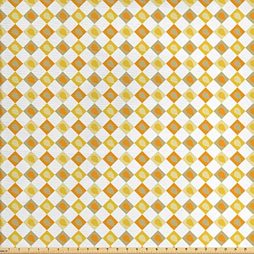 Lunarable Vintage Fabric by The Yard, Retro Stylized Forms Squares with Fallen Leaves Earthy Mother Nature Print, Decorative Fabric for Upholstery and Home Accents, 1 Yard, Orange Yellow Khaki -