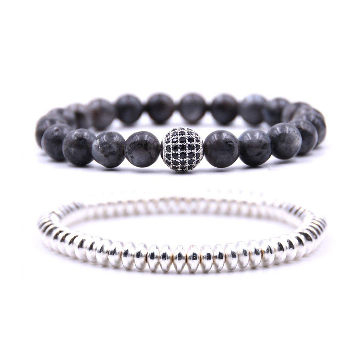 Zhepin Silver Men Women Bracelet Set Beads Bracelet Set for Men Handmade Jewelry Power Crystal Stretch Bracelets