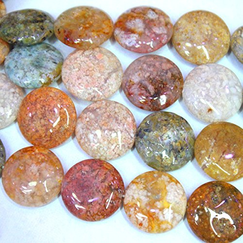 Natural Colorful Ocean Agate Coin Gemstone Loose Beads Jewerly Making Findings (20mm)