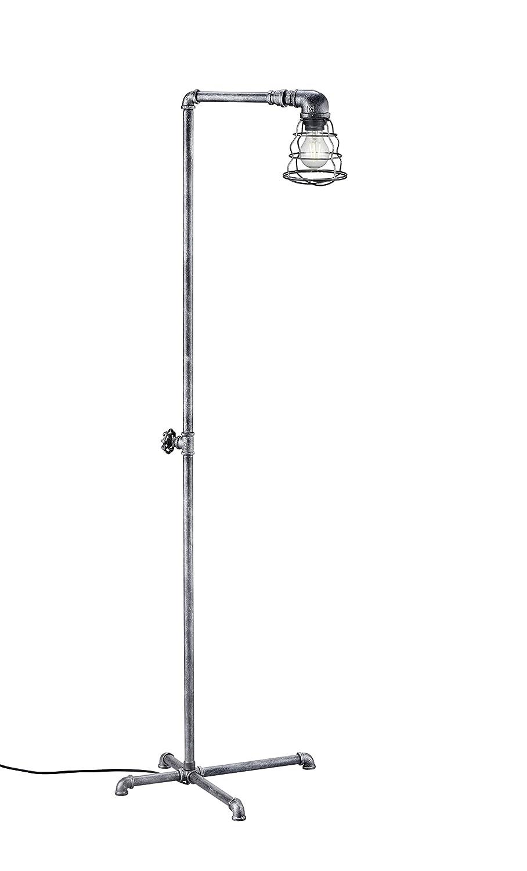 Trio Leuchten Stehleuchte, Metall, E27, Silberfarbig Antik, 49.5 x 42 x 145.5 cm