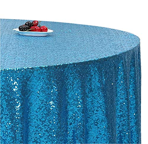 (Poise3EHome 50-Inch Round Sequin Tablecloth for Party Cake Dessert Table Exhibition Events, Turquoise )