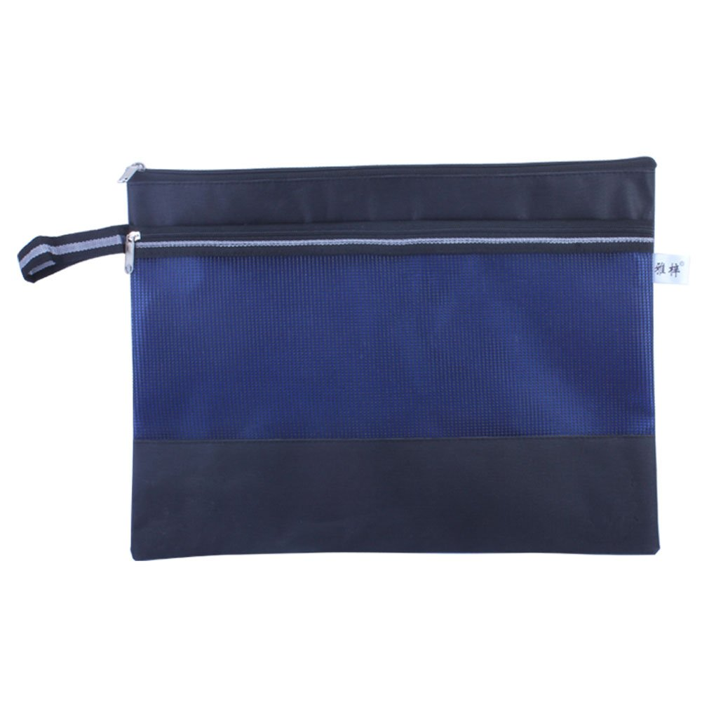 3PCS Double-deck Document File Stationery Zipper Bag Storage Pouch Pocket, Black