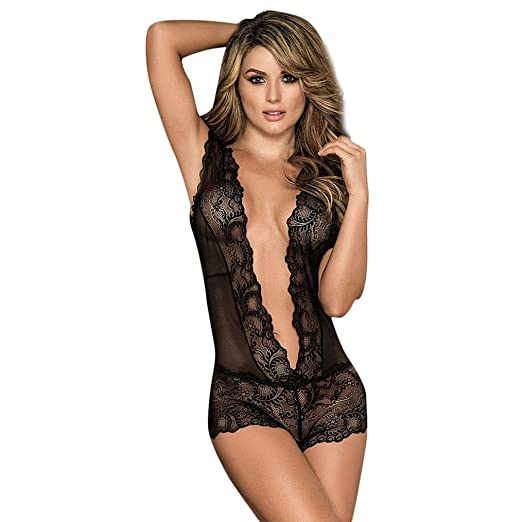710b43b0f5a YKA Underwear YKA Fashion Women Sexy Seductive Attractive Lace Pierced  Hollow Out Lingerie Suit (Black