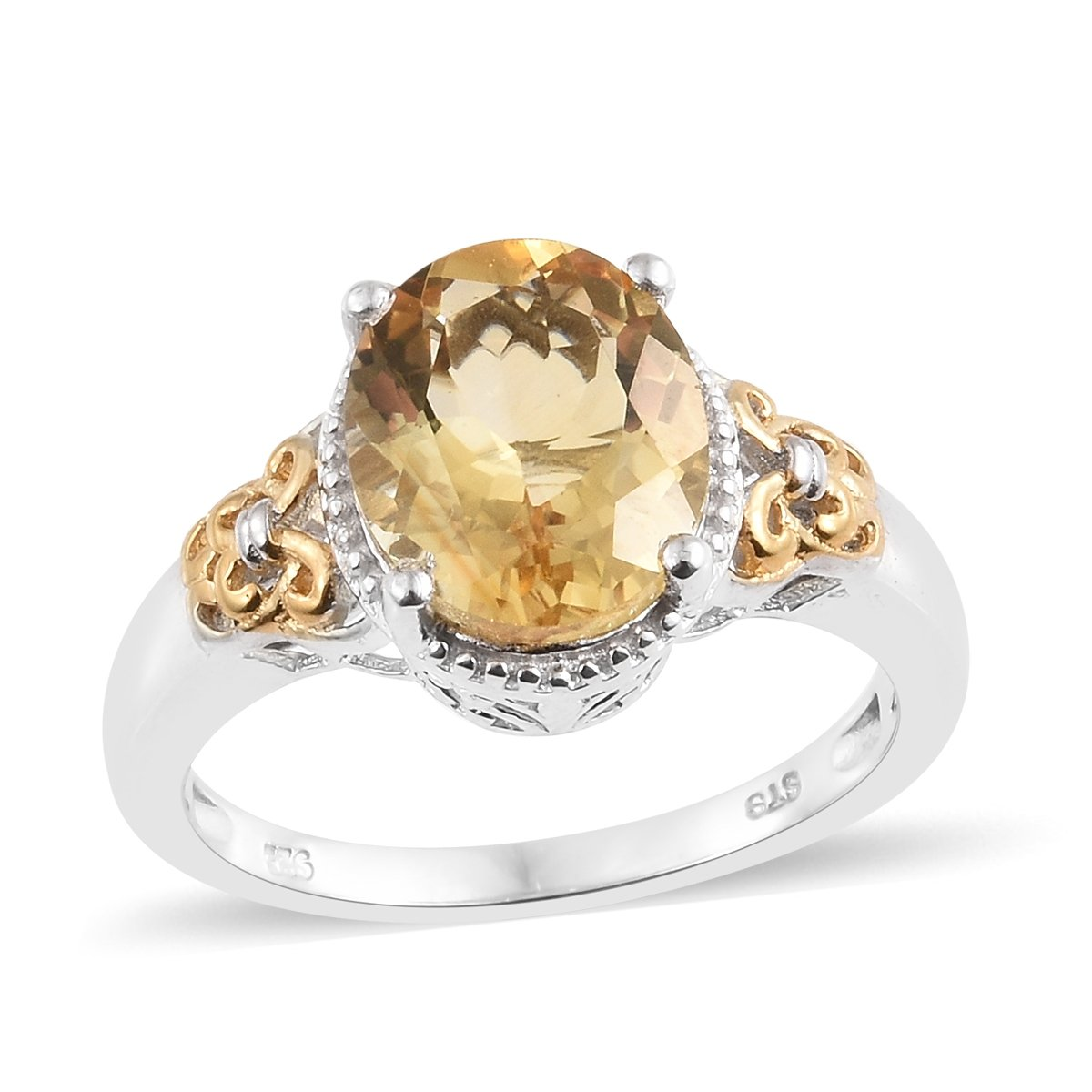 925 Sterling Silver 14K Yellow Gold and Platinum Plated 3.7 Cttw Oval Citrine Ring Size 11 by Shop LC
