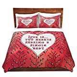DiaNoche Designs Love Heart Trees on Red Home Decor Cover, 7 Queen Duvet Sham Set