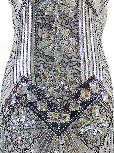 6a04d4037503 Vijiv Women 1920s Gastby Sequin Art Nouveau Embellished Fringed ...