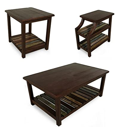 edce9b201dc39 Rustic Coffee Table Set Of 3 For Living Room Dark Wood End Table Side  Chairside Accent