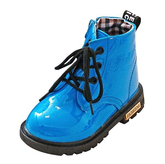 YanHoo Zapatos para niños Botas de otoño e Invierno para niños Botines Impermeables Niños Moda Niños Niñas Zapatillas de Deporte Invierno Gruesa Nieve Bebé ...