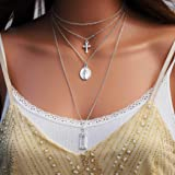 Fstrend Holy Layered Necklace Dainty Cross Virgin