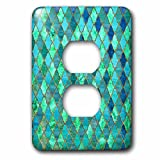 3dRose Uta Naumann Faux Glitter Pattern - Luxury Trendy Gold Green Teal Moroccan Arabic Quatrefoil Tile Pattern - Light Switch Covers - 2 plug outlet cover (lsp_268959_6)