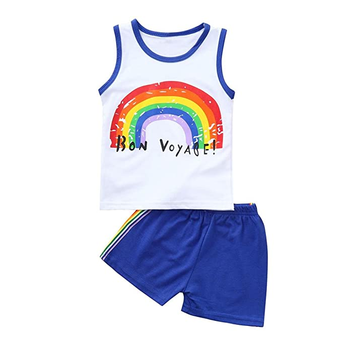 16ac82065 Amazon.com  Kids Baby Boys Girls Outfits Clothes Rainbow Vest Tops+ ...