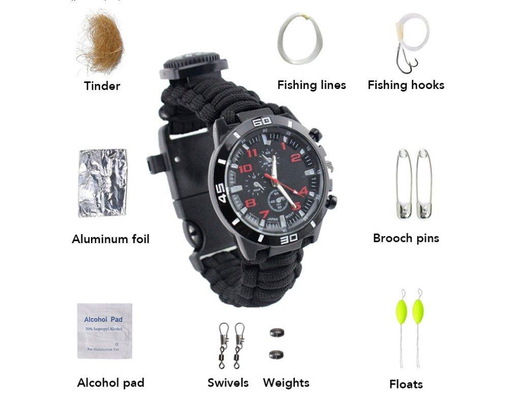 Sinnki Outdoor mountaineering supplies, Flint watches, compass, thermometer, umbrella rope, woven kit, life-saving Watch B0753DQRGQ