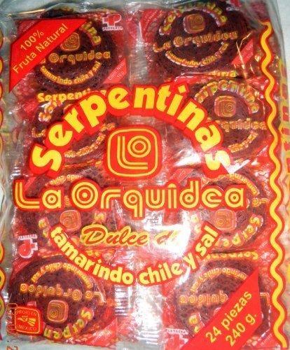 2 X Serpentinas Dulce Tamarindo Chile Y Sal Tamarind Mexican Candy 48 Pcs by La Orquidea Dulmich by La Orquidea Dulmich