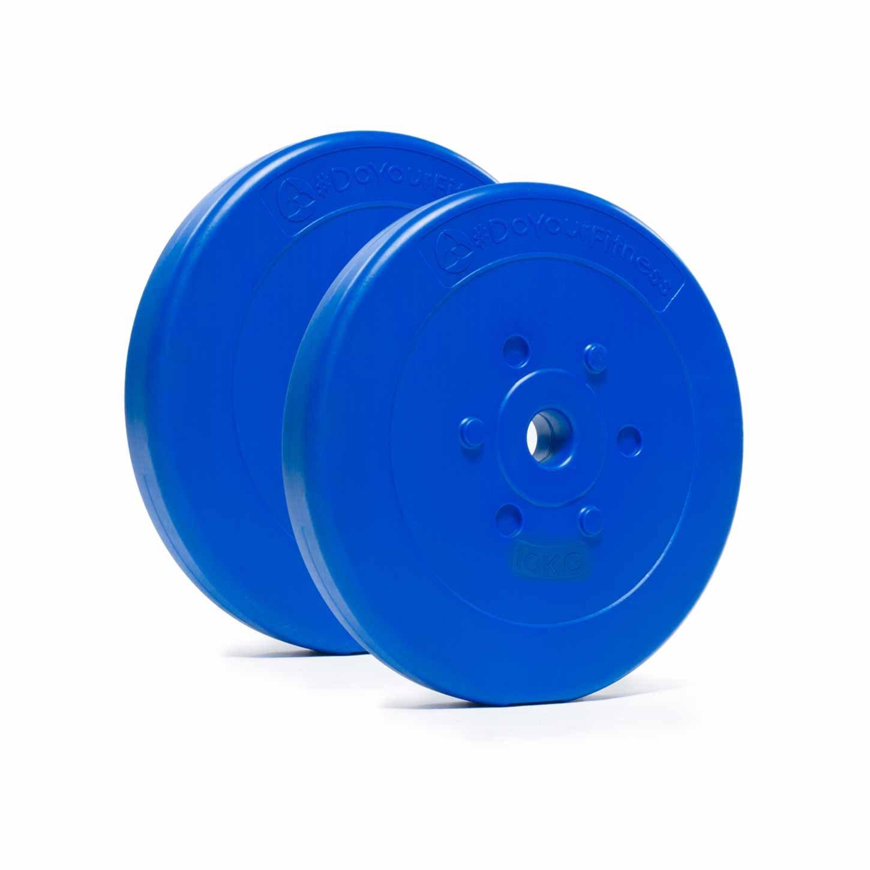 #DoYourFitness® Gewichte/Hantelscheiben ab 1,25kg bis 15kg - Lieferung stets 2X Zementgewichte - bodenfreundliche Kunststoffhanteln mit 31mm Bohrung (Lang- & Kurzhanteln bis 30/31mm) 25kg gelb #DoYourSports